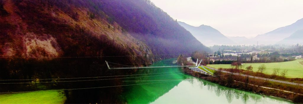 Footbridge over the Soča river